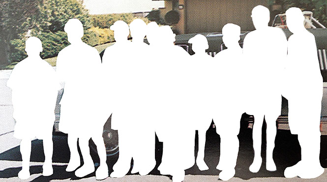 An old photo of Think Grand Founder Dave Woods in 8th grade with ten of his closest friends. Dave and his ten friends are displayed as white silhouettes to demonstrate the fact that they either have left, or may eventually leave, Escondido as adults.
